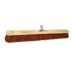 Zaalbezem hout ongelakt plat kokos 100cm met klem